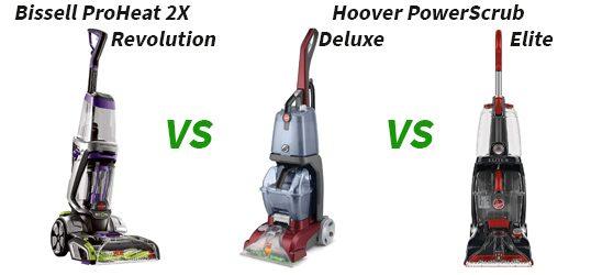 Bissell ProHeat 2X Revolution vs. Hoover PowerScrub Deluxe vs. PowerScrub Elite
